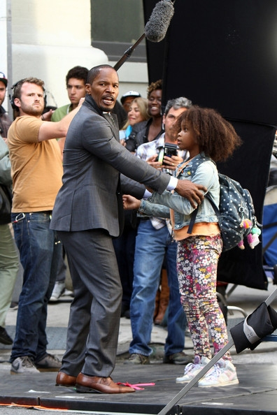 Photo Flash: All-New Photos of Jamie Foxx & Quvenzhane Wallis on Set of ANNIE