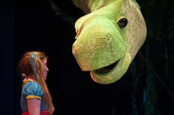 Lulu (Casie Platt) explains to Mr. B (Vaughn Irving) why he should be her pet.