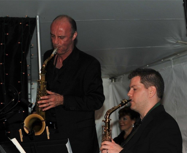 Sax players Dan Willis and Vito Chiavuzzo
