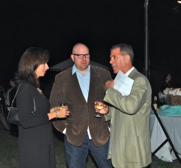 Tara Scrofani conferring with sound designer Brad Berridge and producer, Aldo Scrofani of Theater Management Associates and Tritone Productions.