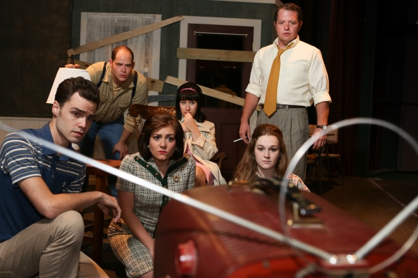 The cast of New Line Theatre''s ''Night of the Living Dead,'' 2013. L-R, Joseph McAnulty, Zachary Allen Farmer, Sarah Porter, Marcy Wiegert, Mary Beth Black, Mike Dowdy.