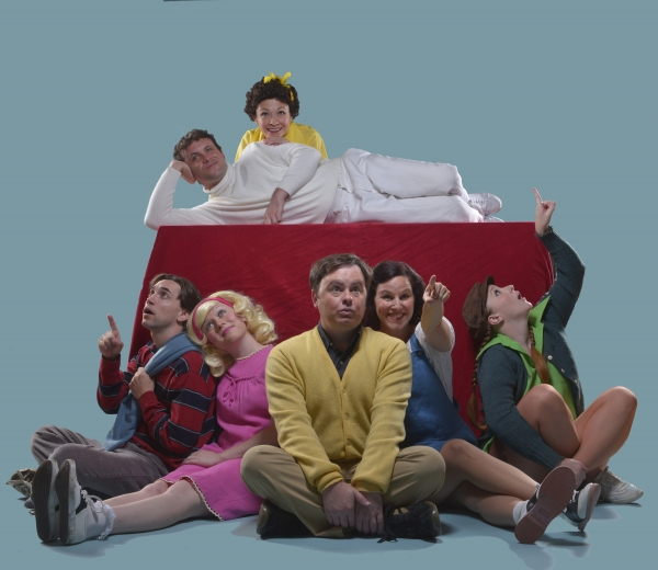 l-r top: Keith Pinto and Janine Burgener l-r bottom: Kyle Stoner, Chloe Condon, Ian Leonard,  Dyan McBride, and Ashley Rae Little star as  the Peanuts gang