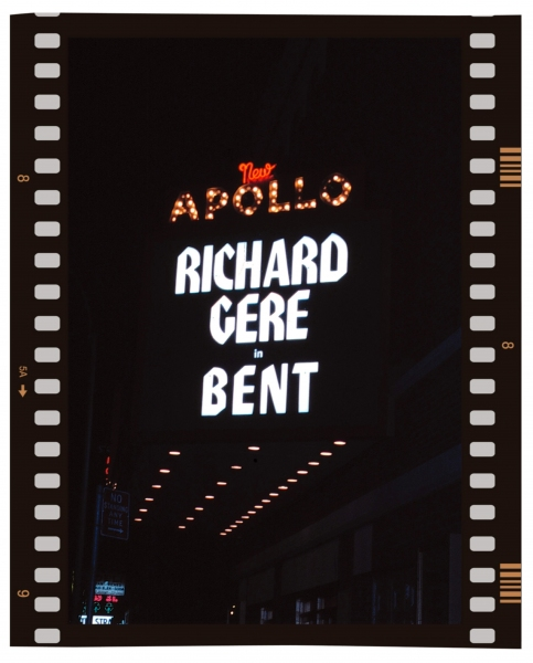 Theatre Marquee for Richard Gere starring in BENT at the Apollo Theatre, New York City. December 1979