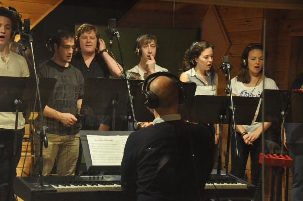 Steven Malone conducting Iain Young, Evan Kesprzak, Mark Aldrich, Ryan Breslin, Liana Hunt and Kara Lindsay