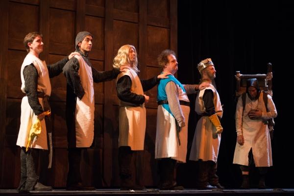 The Knights (Patrick Ludt, Will Harrell, Tim Haney, and Jay Poff) , King Arthur (Scott Langdon), and Patsy (David Jack)
