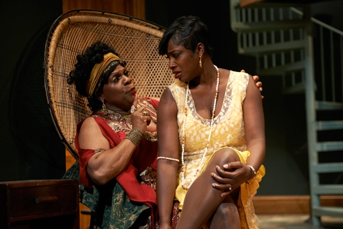 Ma Rainey (Tina Fabrique*) gets cozy with her girl Dussie Mae (Nyahale' Allie*) as she complains about her shoes