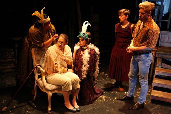Adithi Chandrashekar, Marsha Harman (as Maurine Watkins, older), Jaclyn Hennell, Jessica London-Shields (as Maurine Watkins, younger) and Jake Szczepaniak