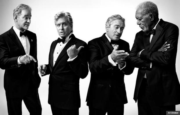 De Niro, Douglas, Freeman & Kline Grace Cover Of AARP The Magazine