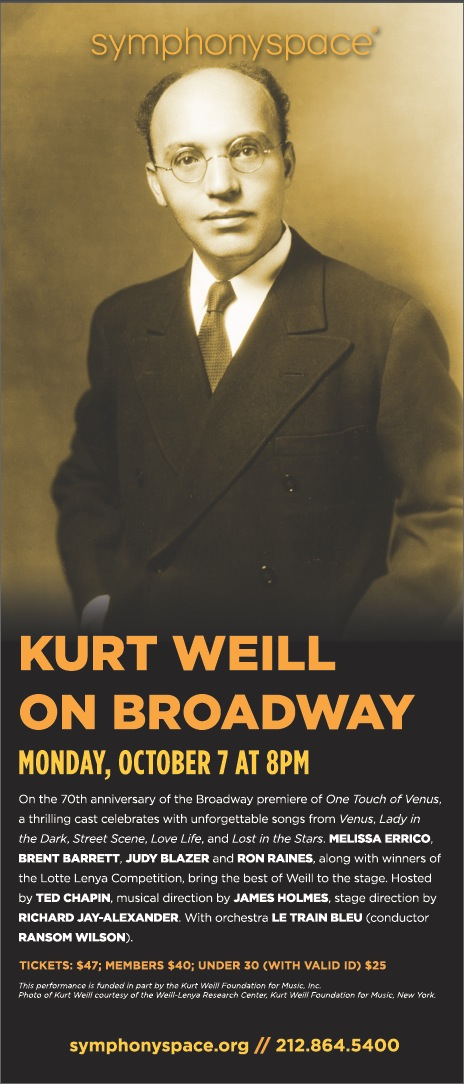 Exclusive: Symphony Space Presents KURT WEILL ON BROADWAY and First Look at VENUS Cover
