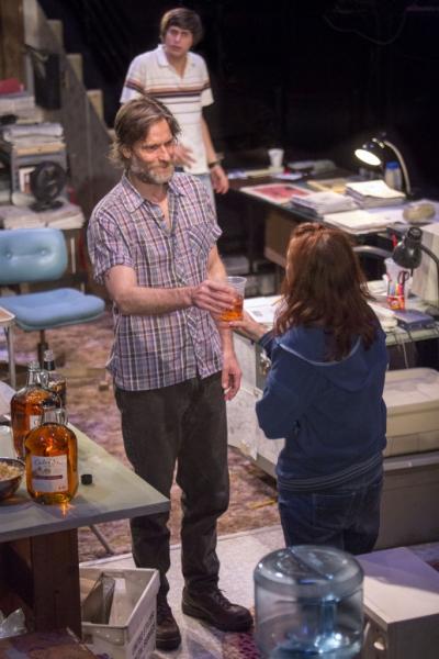 Gideon Glick as Matthew, Michael Laurence as Bryan and Eva Kaminsky as QZ