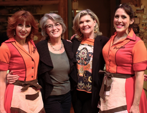 The Original Dinettes and Tony-nominated creators of Pump Boys and Dinettes, Cass Morgan and Debra Monk, meet Erin Maguire and Farah Alvin, from the 30th Anniversary production at Geva Theatre Center. L to R: Erin Maguire, Cass Morgan, Debra Monk, Farah A