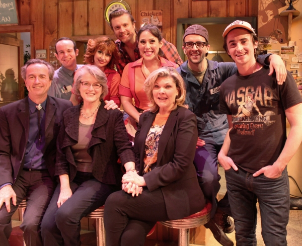 Mark Cuddy, Cass Morgan, Debra Monk; Back Row: Jonathan Spivey, Erin Maguire, Johnny Photo
