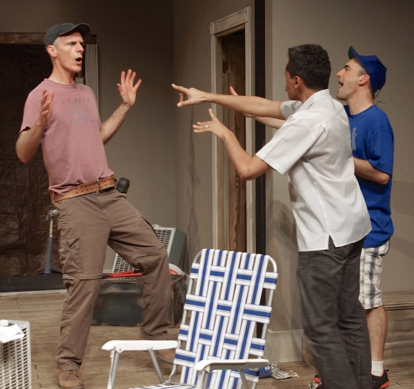 Dan (Stephen Underwood) being confronted by Kevin (Bari Robinson) and Steve (Mark Rubin)