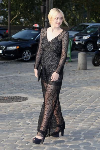 Dakota Fanning at the Louis Vuitton at Paris Fashion Week (Photo by REX USA/Aldo Verretti/Rex)