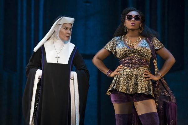 Hollis Resnik as Mother Superior and Ta'Rea Campbell as Deloris Van Cartier