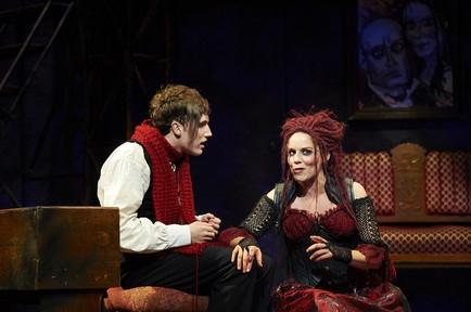 Actors Sara M. Bruner (as Mrs. Lovett) and Chris Cowan (as Tobias Ragg)