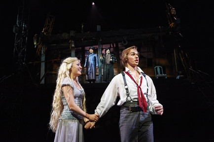 Clare Howes Eisentrout (left, as Johanna) and Zach Adkins (right, as Anthony Hope)