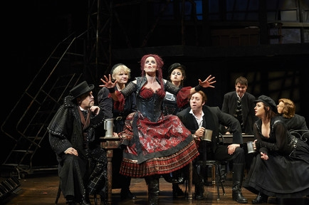 Actor Sara M. Bruner (as Mrs. Lovett) stars in the Great Lakes Theater production of ''Sweeney Todd'' at the Hanna Theatre