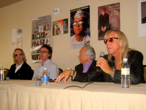The Elton John Band answers questions from fans at Elton Expo 2013. L-R: Kim Bullard, John Mahon, Nigel Olsson and Davey Johnstone. Not pictured: Matt Bissonette.