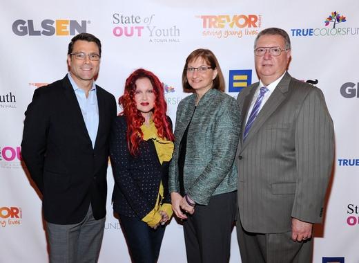 Steven Guy, Cyndi Lauper, Jane Clementi and Joseph Clementi