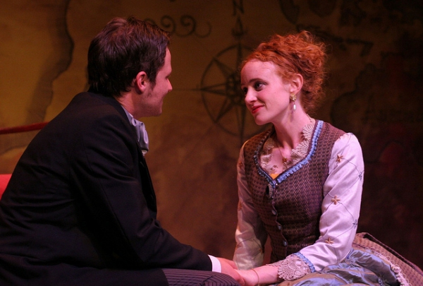 Dustin Bronson as Phileas Fogg and Caitlin Wise as Aouda