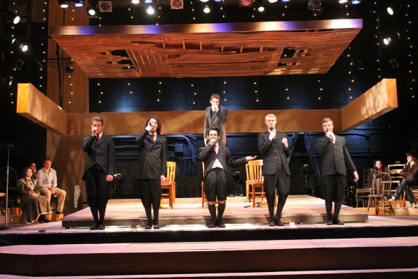 The Boys of Spring Awakening -- from left first row: Bryan Dougherty (Hanschen), Johnny Schaffer (Otto), Alexander Michaels (Moritz), William West (Georg), and Tommy Walters (Ernst); second row:  Michael Barthel (Melchoir)