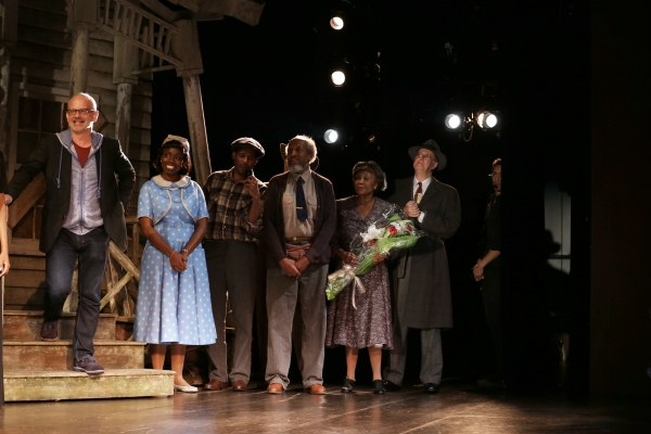 Director Michael Wilson, Adepero Oduye, Arthur French & Cast during ''The Trip To Bountiful'' Final Performance Curtain Call & Celebration at The Stephen Sondheim Theatre on October 9, 2013 in New York City.