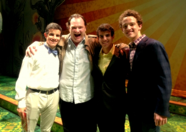Jacob Guzman, Kevin Carolan (Baloo), David Guzman, and Iain Young after the October 10 performance of THE JUNGLE BOOK at the Huntington Theatre Company. Photo: Huntington Theatre Company
