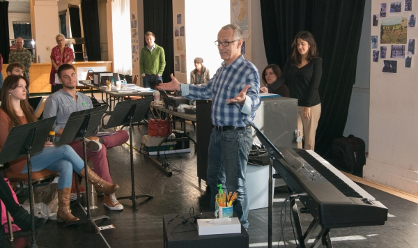 Jim Corti, Artistic Director at the Paramount Theatre and director of Miss Saigon, addresses his cast and crew at the show's first rehearsal on October 7.