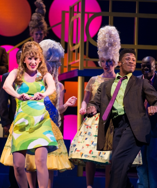 Penny Pingleton (played by ABT favorite Trisha Hart Ditsworth) and Seaweed (played by ABT newcomer Antonio Tillman) lead a group of dancers in Arizona Broadway Theatre''s production of Hairspray.