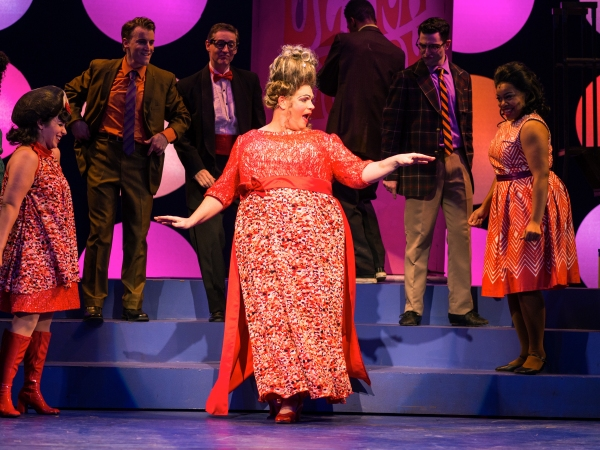The cast of ABT''s Hairspray performs with Richard Koons-Wagoner (Edna Turnblad) at the center. (From left: Victoria Lynn Socci, Scott Shedenhelm, Wade Moran, Richard Koons-Wagoner, AJ Hunsucker, Anne-Lise Koyabe)