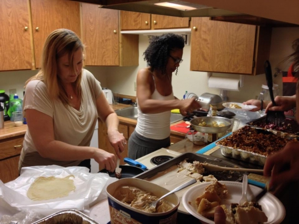 Shari Jordan and Nicole Powell prepare dessert
