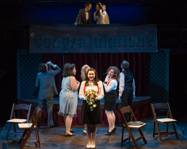 (L to R, Center) Garret Lutz (Cast), Teresa LaGamba (Cast) Aja Wiltshire (Julia) and Sarah Bockel (Holly); (L to R, Top) Joe Capstick (Cast) and Kelley Abell (Cast)