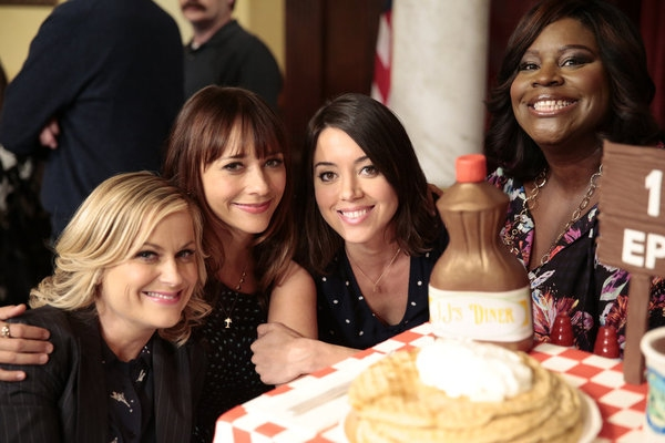 PARKS AND RECREATION -- ''100th Episode Celebration'' -- Pictured: (l-r) Amy Poehler, Rashida Jones, Aubrey Plaza, Retta -- (Photo by: Chris Haston/NBC)