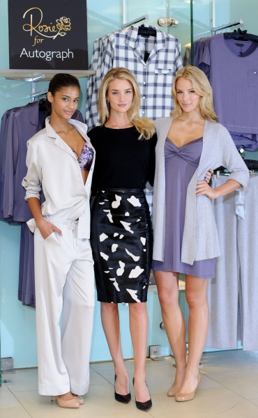 Rosie Huntington-Whiteley and models at Rosie for Autograph sleepwear collection launch in London (Photo by REX USA/Jonathan Hordle/Rex)