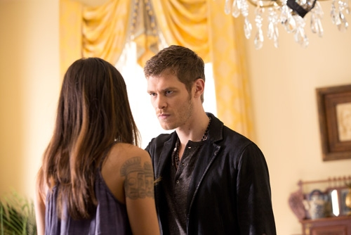 The Originals -- ''Sinners and Saints'' -- Image Number: OR105b_0044.jpg -- Pictured (L-R): Daniella Pineda as Sophie and Joseph Morgan as Klaus -- Photo: Bob Mahoney/The CW -- © 2013 The CW Network, LLC. All rights reserved