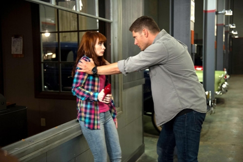 Supernatural -- ''Slumber Party'' -- Image SN904b_0272 -- Pictured (L-R): Felicia Day as Charlie and Jensen Ackles as Dean -- Credit: Diyah Pera/The CW --  © 2013 The CW Network, LLC. All Rights Reserved