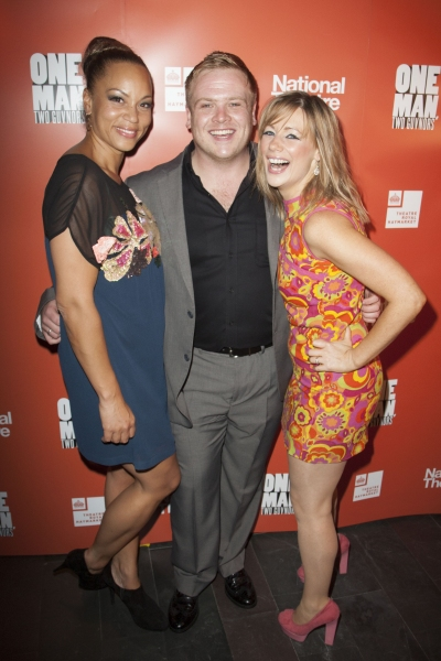 Angela Griffin (Dolly), Owain Arthur (Francis Henshall) and Kellie Shirley (Pauline Clench)