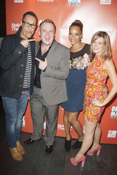 Gok Wan, Owain Arthur (Francis Henshall), Angela Griffin (Dolly) and Kellie Shirley (Pauline Clench)