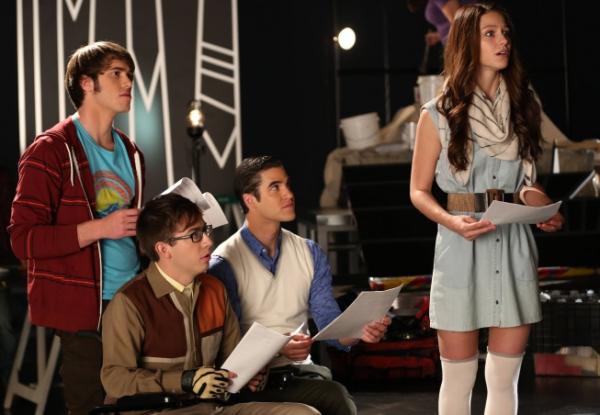 GLEE: L-R: Ryder (Blake Jenner), Artie (Kevin McHale), Blaine (Darren Criss) and Marley (Melissa Benoist, R)