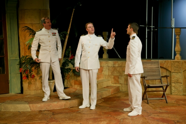 Jim Gall as Don Pedro, Matt Shimkus as Benedick, and Jay Myers as Claudio