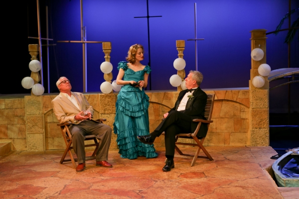 Peter A. Jacobs as Leonato, Jennifer Lee Taylor as Beatrice, and Bill Higham as Antonio