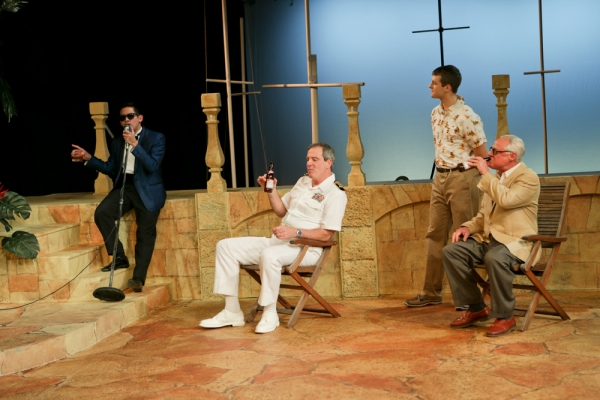 Justin Huertas as Balthasar, Jim Gall as Don Pedro, Jay Myers as Claudio, and Peter A. Jacobs as Leonato