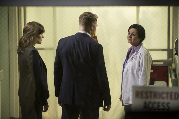 THE BLACKLIST -- ''Frederick Barnes'' Episode 106 -- Pictured: (l-r) Megan Boone as Elizabeth Keen, Diego Klattenhoff as Donald Ressler, Geraldine Hughes as Nina Buckner -- (Photo by: David Giesbrecht/NBC)
