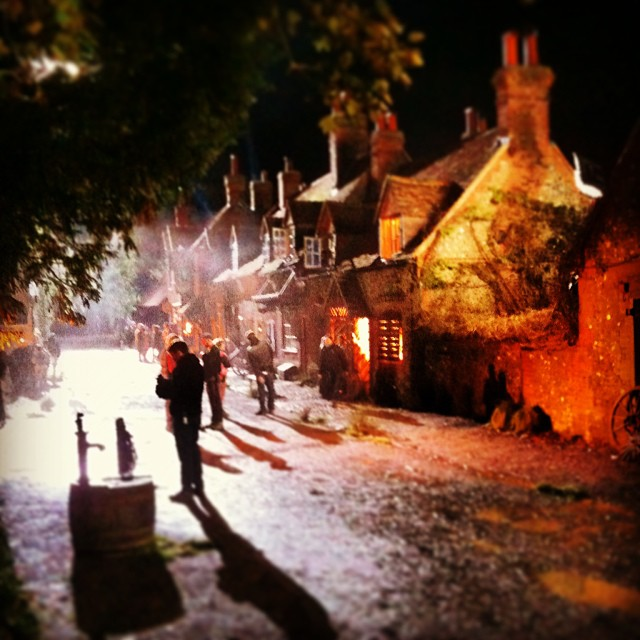 Spooky New INTO THE WOODS Village Shots! Pine, Corden, Blunt On Set; Depp Goes Blond
