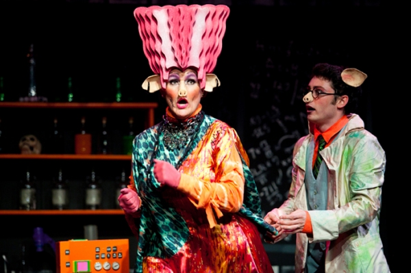 Shelley Marsh Poggio as Porkenstein and Owen Murphy as Dr. Pig Photo