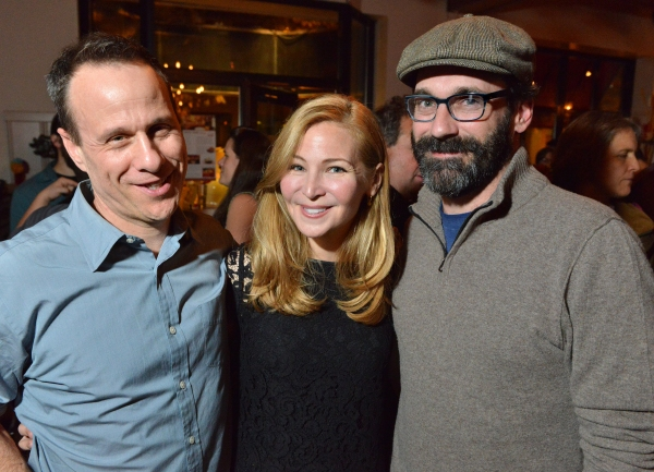 THE POWER OF DUFF playwright Stephen Belber, actor Jennifer Westfeldt, and Jon Hamm