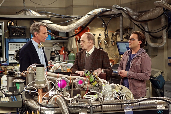 ''The Proton Displacement'' -- Sheldon feels slighted when Professor Proton (Bob Newhart, center) seeks advice from Leonard (Johnny Galecki, right) instead of him, and he seeks revenge by befriending a rival science TV host, Bill Nye (left), on THE BIG BA