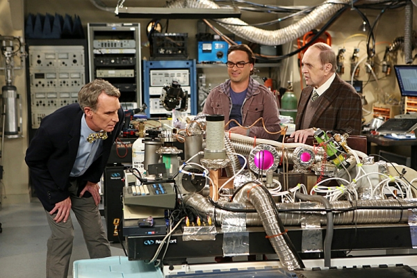 ''The Proton Displacement'' -- Sheldon feels slighted when Professor Proton (Bob Newhart, right) seeks advice from Leonard (Johnny Galecki, center) instead of him, and he seeks revenge by befriending a rival science TV host, Bill Nye (left), on THE BIG BA