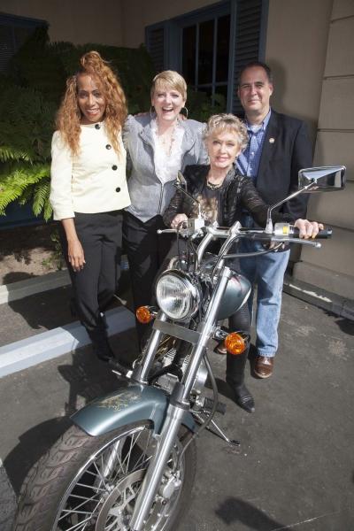 Sandra Lord, Alison Arngrim, Tippi Hedren and Grier Weeks pose with bike